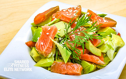 This easy and quick salmon and avocado salad by personal fitness trainers in Columbia, MD.